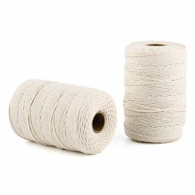 2 X 200M Handmade Natural Cotton Cord Draw String Macrame Decor Craft Making 2mm