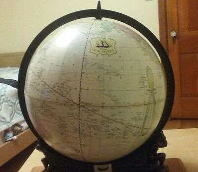 ( Vintage ) 1971 Cram Antique 12 Inch Globe Supported Between Twin Atlas.
