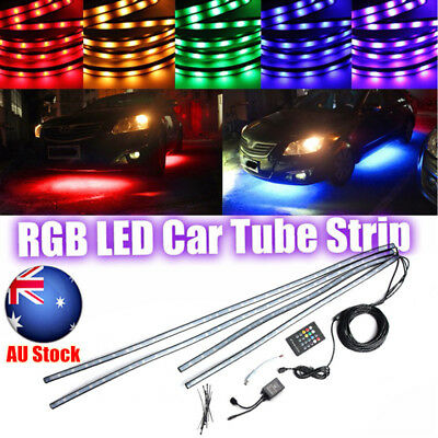 4x RGB LED Neon Strip Light IR Music control Under Car Tube Underglow Underbody