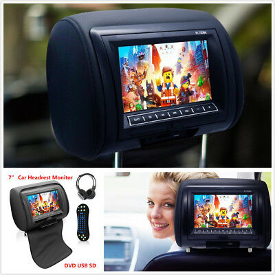 "7""Black TFT LCD Car Headrest Monitor w/DVD Player FM USB IR Remote Games+Headset"