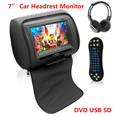 7inch HD Car Headrest Monitor w/DVD Player/USB/IR Remote SD Games FM Transmitter
