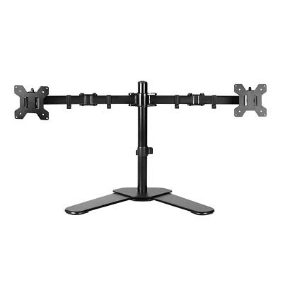 """HLC10""""- 27"""" Dual HD LED Desk Monitor Stand Mount Bracket 2 Arms Holds LCD Screen"""