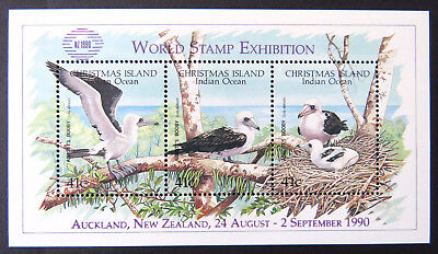 1990 Christmas Island Stamps - Abbott's Booby MiniSheet O/P World Stamp ExhibMNH