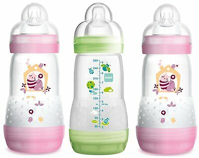 MAM Anti-Colic Bottles 260ml White or Blue Pack of 1 or 3 Choice of Pink