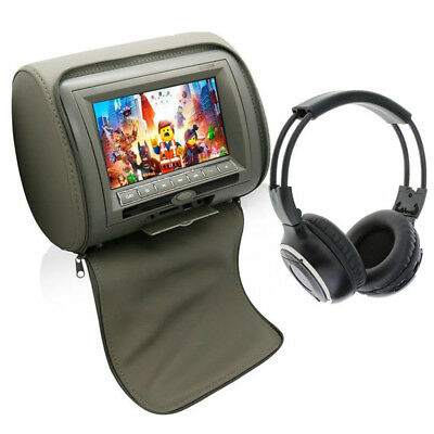 """7""""TFT LCD screen Monitors DVD Player AV in/out IR Remote wireless Headphone Grey"""