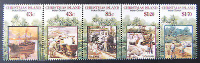 1991 Christmas Island Stamps - Centenary of 1st Mining Lease - Strip of 5 MNH