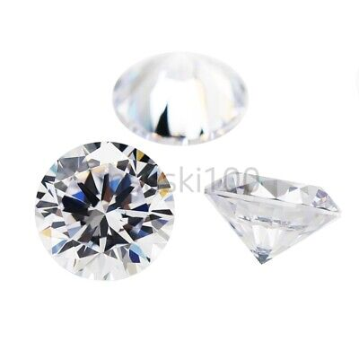 100 x Cubic Zirconia loose White Clear Crystal CZ Round Brilliant 2 - 10mm NEW