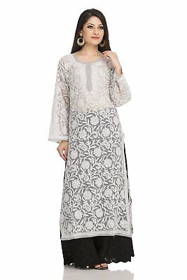 IndianCarft Chikan Handmade Traditional Casual Womens Georgette Long Kurtas