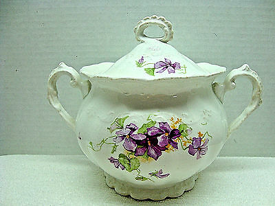East Palestine pottery desoto shape covered white sugar bowl 1884-1909.