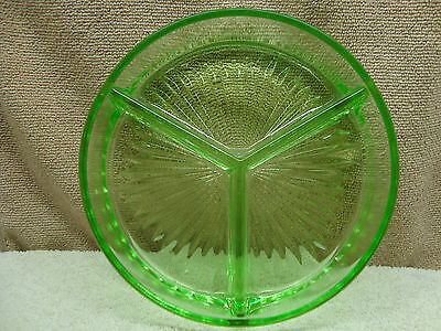 Three compartment relish dish in  Green Vaseline (Uranium) Glass