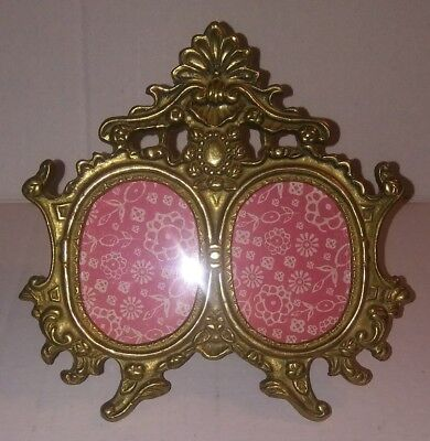 """Vintage Brass Double Oval Picture Frame Decorative Crafts Inc. 6"""""""