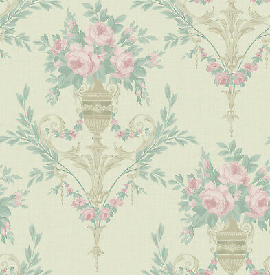 Floral Wallpaper with a Victorian Style in Pink, Green, Hints of Gold and Cream