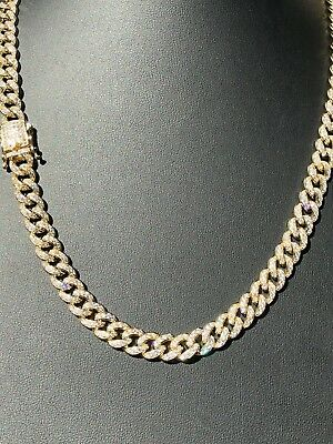 Mens Miami Cuban Link 9mm Chain 14k Gold Over Solid 925 Silver 25ct Lab Diamonds