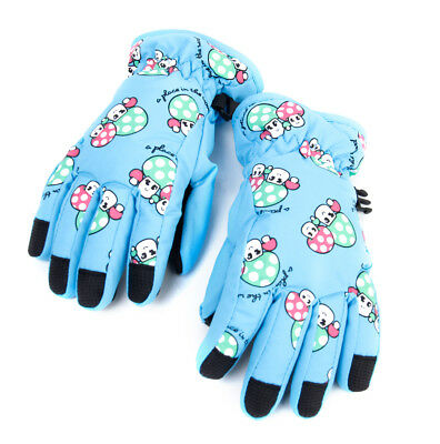 Child Windproof Winter Warm Fleece Thermal Ski Snow Snowboard Gloves Blue