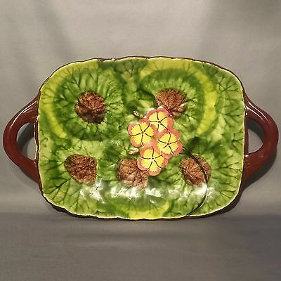 Vintage 1950s CICO Bavaria Germany - Hand Painted LILY PAD Serving DISH / TRAY