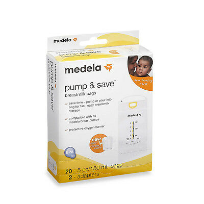 Medela Pump & Save Breastmilk Bags 20ct and 2 Adapters NIB sealed USA AUTHENTIC
