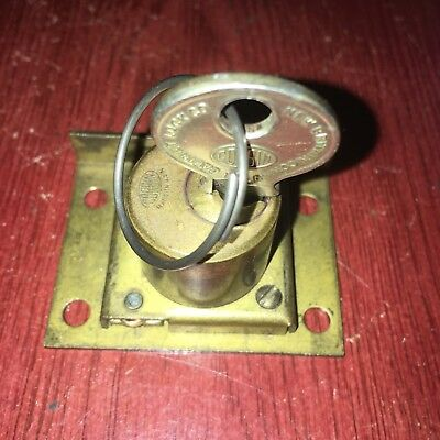 Antique Old Corbin Cabinet Lock Desk Drawer Furniture File Door & Key #4R21647