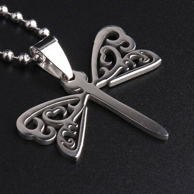 """316L Stainless Steel Pendant1.38X1.38Inch Dragonfly  Silver Necklace 22/"""" B37"""
