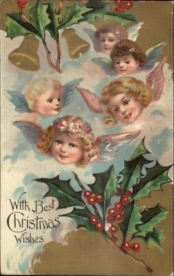 christmas little angel faces holly bells c1910 postcard 5 89