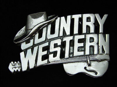 Og03147 *nos* Vintage 1981 *country Western* Music Chrome On Solid Brass Buckle