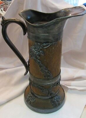"Antique Lotus Blossom Wood & Silver Large Pitcher  Art Nouveau 11"" H  As Is"