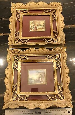 Vintage Italian Pair Hand Painted 18th C Scenes Gilt Frames Signed
