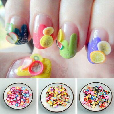 1000Pcs Decor Acrylic Sticker DIY Fimo Clay 3D Nail Art Manicure Nail Art Slices