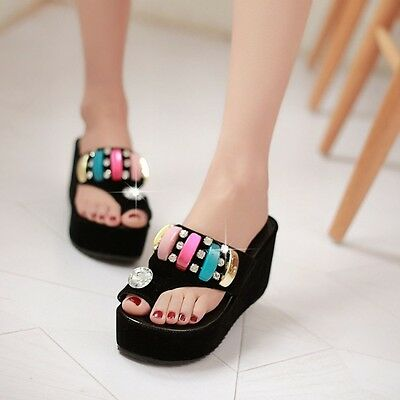 0c17e5a8fb New Toe Ring Platform Wedge Rhinestones Slip On Slippers Women Sandal Shoes  Size