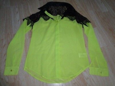 Youth Girls Glo Jeans S Juniors Blouse Shirt Black Lace Lime Green Yellow