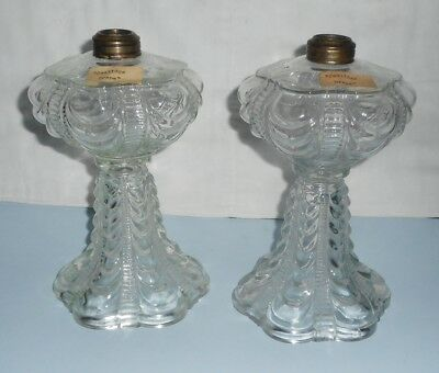 Great Matched Pair Ca. 1890s Coolidge Drape No. 1 Size Oil Lamps No Chips Cracks