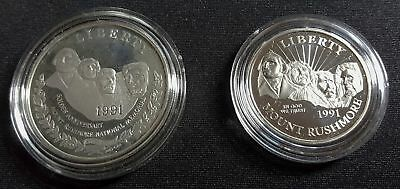 1991 Us Mount Rushmore Two (2) Coin Commemorative Proof Set