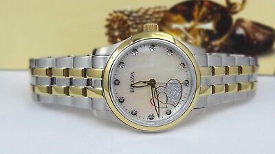 Bulova 98P152 Diamond Mother-of-Pearl Dial Two Tone Women's Watch GREAT GIFT