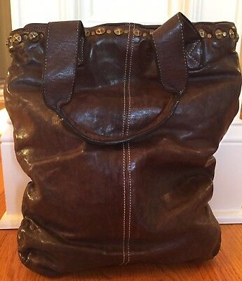 LANGELLOTTI VINTAGE Hand Made & Dyed Italian Studded Leather Tote $300+ NWT