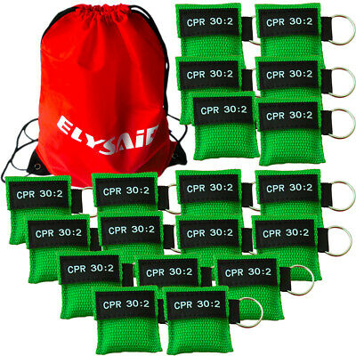 CPR Face Mask Keychain CPR Face Shield Emergency Training CPR 30:2 Green