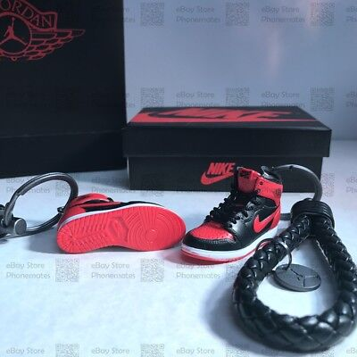 "Kicksmini® ""AJ1 Bred/Banned"" 3D Mini Sneaker Keychain Gift Set with Box and Bag"