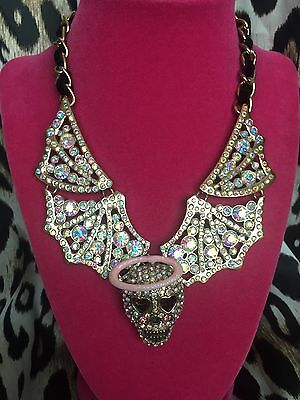 Betsey Johnson A&D Angel Devil Crystal AB Skull Halo Pink Wing Winged Necklace