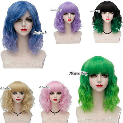 2017 Popular Short Ombre Fancy Curly Stylish Women Party Cosplay Wig+Wig Cap