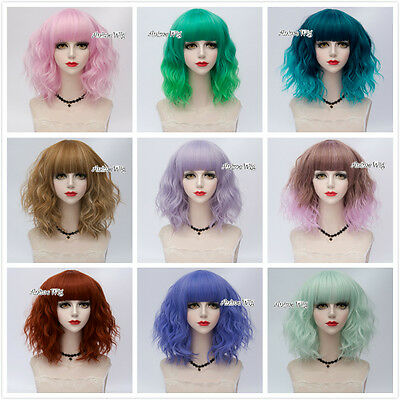 2018 NEW Colorful Lolita Women Party Curly Short Cosplay Wig With Bangs+Cap
