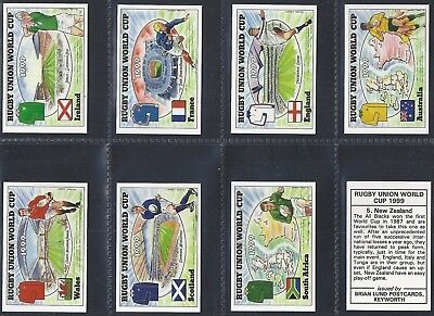 Brian Lund Postcards-Full Set- Rugby Union World Cup 1999 (8 Cards) - Exc+++