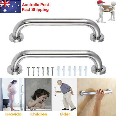2x Stainless Steel Shower Bathroom Wall Grab Bar Safety Handle Grip Towels Rails