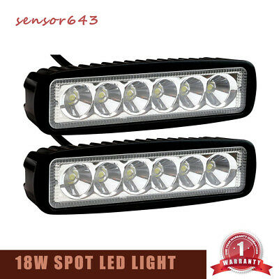 PAIR 18W LED Work Light Bar Beam  Spot Offroad Driving Fog Lamps SUV Boat Truck