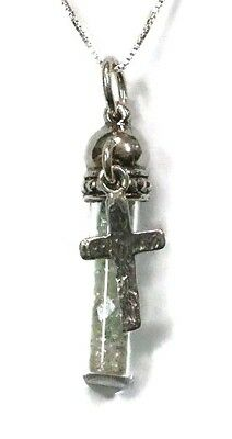 Ancient Roman Glass Fragments Silver 925 Cross Pendent in Glass bottle