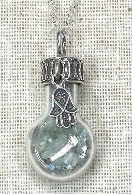 Ancient Roman Glass Fragments Chamsa Silver 925 Pendent in Glass bottle.