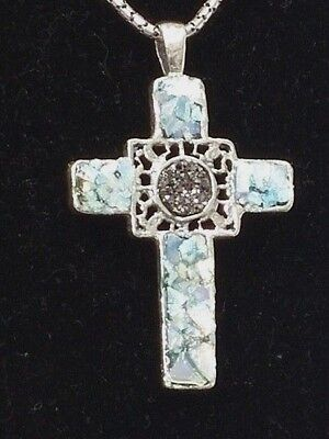Roman Glass Sterling Silver 925 Fragments 200 B.C Big Cross Necklace Holy Land