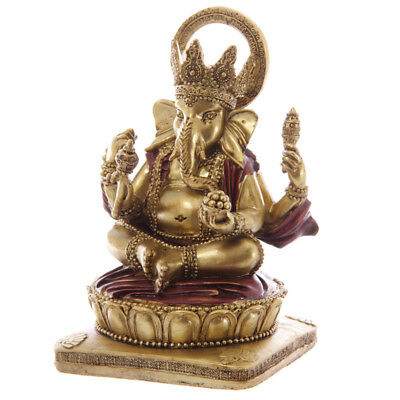 Gold and Red Ganesh Sitting 14cm Ganesha Hindu Maharaja Chandra Nadi Pooja Puja