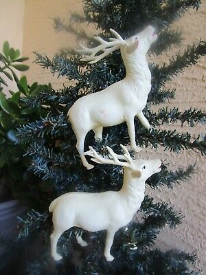 Vintage 2 Large Celluloid Reindeer Christmas Decor/ornament Occupied Japan 5""