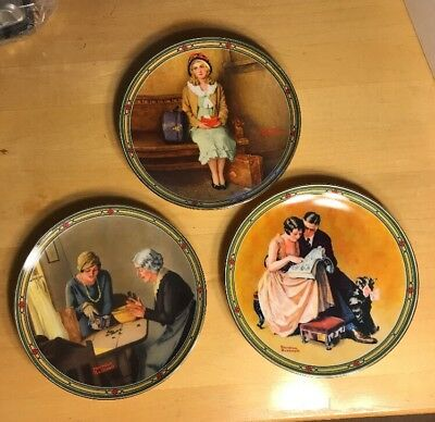 "1985 Knowles  Norman Rockwell's American Dream Collector Plates 8.5""  Lot of 3"
