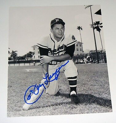 Milwaukee Braves Johnny Logan Signed b/w 8x10 Photo COA Free Shipping