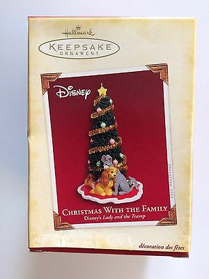 "Hallmark Keepsake 2005 ""CHRISTMAS WITH THE FAMILY"" LADY & THE TRAMP Disney NIB"