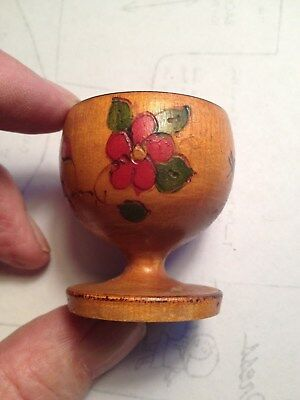 Vintage TURNED WOODEN CARVED FOOTED CUP